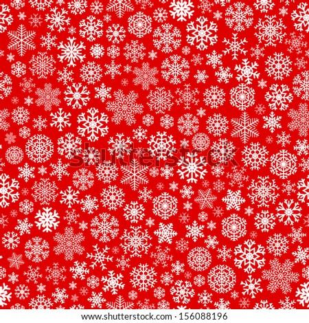 Christmas seamless pattern from white snowflakes on red background. Raster version. - stock photo