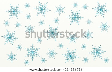 Christmas seamless pattern or background - vintage blue snow flakes painting on white canvas - stock photo