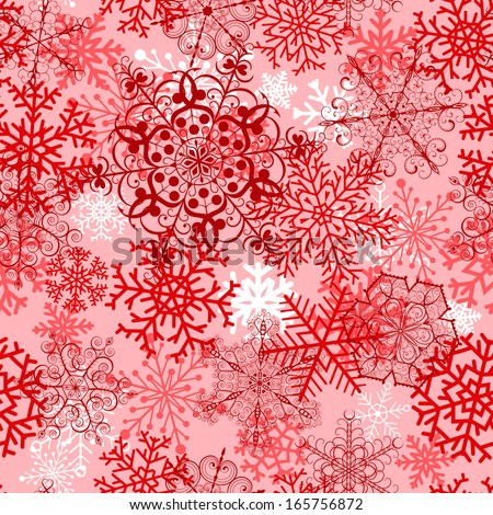 Christmas seamless pattern with big red  snowflakes. Raster version.