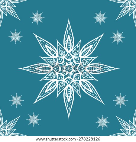 Christmas seamless pattern with snowflakes on blue background - stock photo
