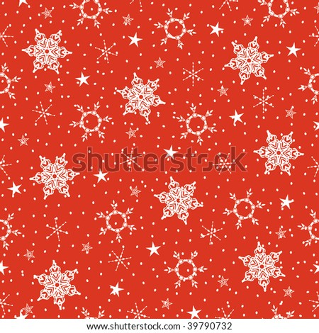 Christmas seamless red background with snowflakes and stars - stock photo
