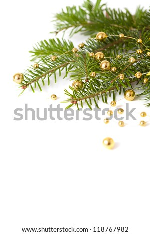Christmas seasonal background with spruce and golden beads isolated - stock photo
