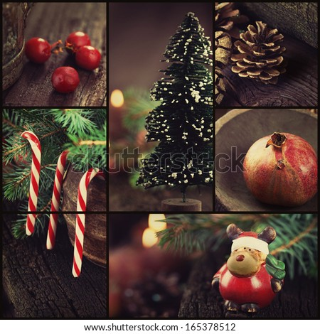 Christmas series. Collage of rustic Xmas ornaments and decoration. Christmas tree, reindeer, lolipop candy.  - stock photo