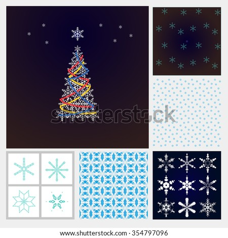 Christmas set. Christmas tree, snowflakes, snow background Frosty pattern - for decoration of Christmas greetings, postcards sites. - stock photo