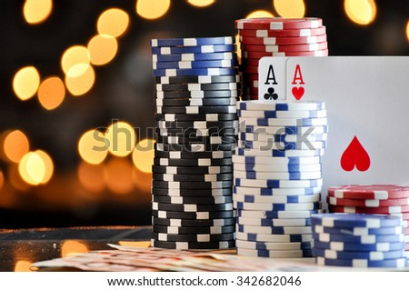 Christmas setting with poker chips - stock photo