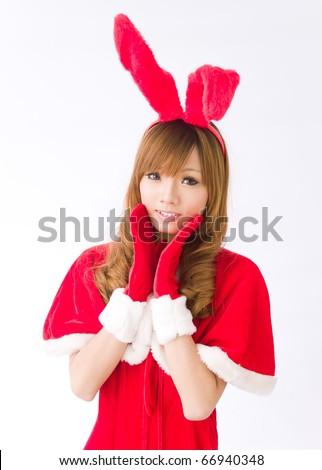 Christmas sexy rabbit girl - stock photo