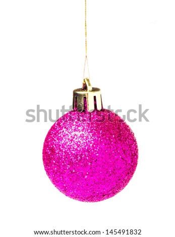 Christmas shiny  ball hanging on ribbon isolated on white background  - stock photo