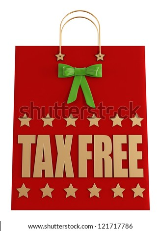 Christmas shopping bag with tax free sign isolated on white - rendering - stock photo