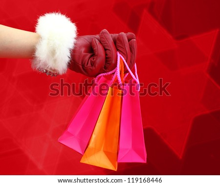 Christmas shopping bags - stock photo