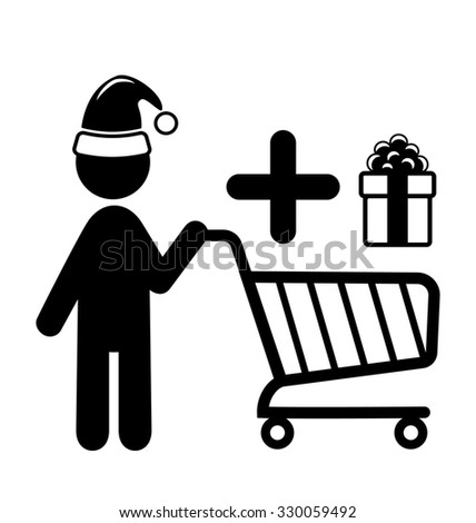 Christmas Shopping Man with Cart and Gift Flat Black Pictogram Icon Isolated on White Background - stock photo