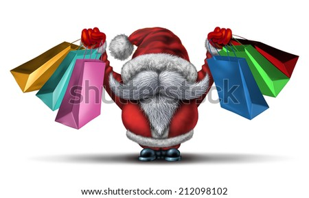 Christmas shopping spree  as a fun Santa clause with a white beard and a red costume holding retail gift bags for holiday buying fun and joyous winter sale holiday celebration on a white background. - stock photo