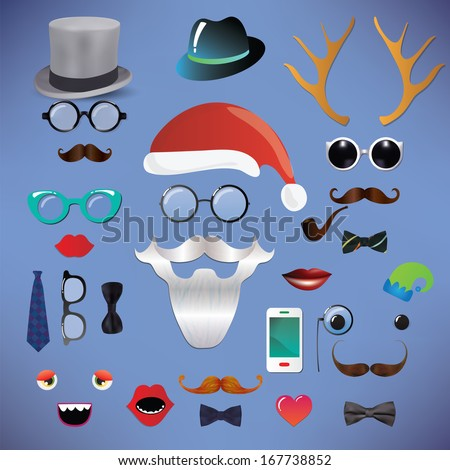 Christmas silhouette set hipster style, illustration icons isolated, santa claus, santa hat, mustache - stock photo