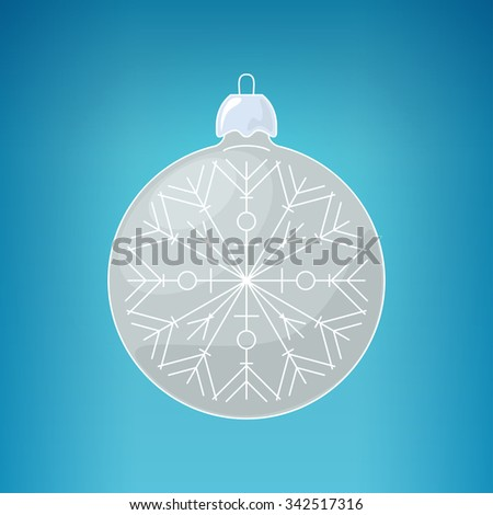Christmas Silver Ball with Snowflake , Christmas Ball  on a Blue Background , Christmas Tree Decoration,  Merry Christmas and Happy New Year - stock photo