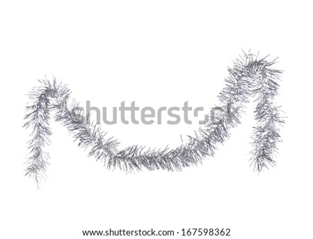 Christmas silver tinsel. Isolated on a white background. - stock photo