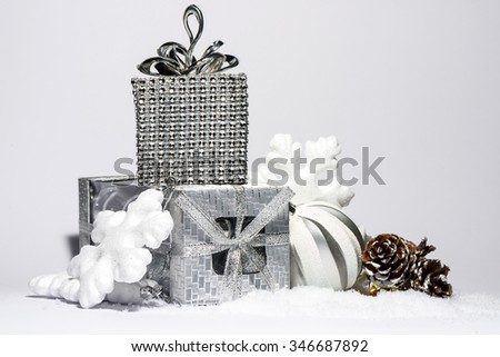 Christmas silver toys with white snow