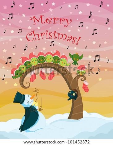 Christmas singing birds chorus card - stock photo