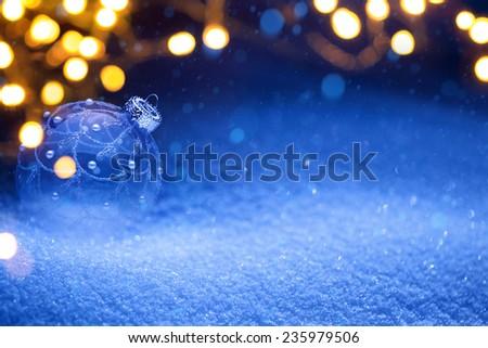 Christmas snow background - stock photo