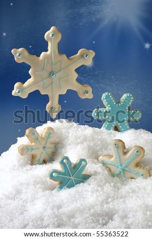Christmas Snow Flake Cookies - stock photo