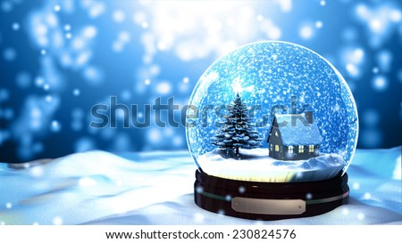 Christmas Snow globe Snowflake close-up - stock photo