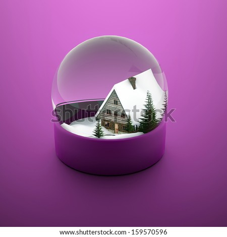 Christmas snow sphere with house and trees on purple background - stock photo