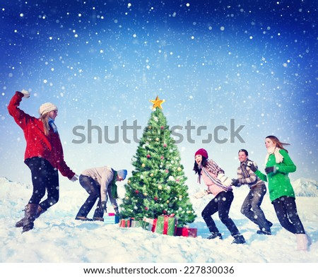 Christmas Snowball Fight Winter Friends Yuletide Concept - stock photo
