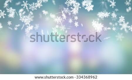 christmas snowfall on colorful background  - stock photo
