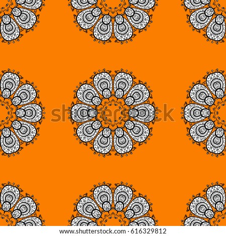 Christmas, snowflake, new year 2018. Seamless vintage pattern on orange background with white elements.