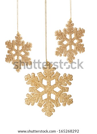 Christmas snowflake ornament on a white background - stock photo