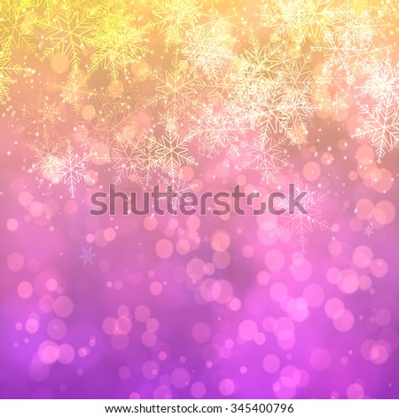 Christmas snowflakes background with bokeh effect, 3d
