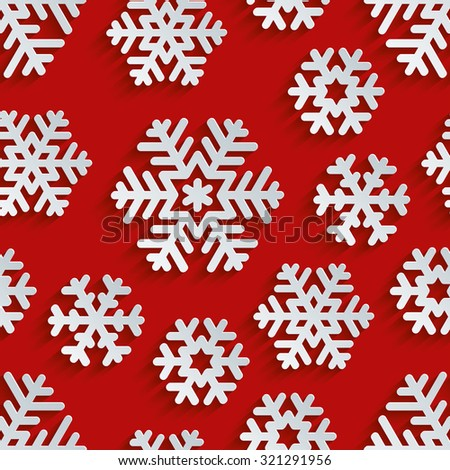 Christmas snowflakes 3d seamless background. Light perforated paper pattern with cut out effect.  - stock photo