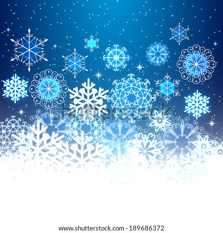 Christmas snowflakes light background. Greeting card or invitation. Raster version - stock photo