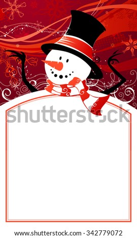 Christmas snowman background. Cute snowman on red background. Hand-written Merry Christmas. There is copy space for your text in the center of frame.
