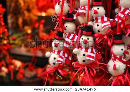 Christmas snowman decorations at a Christmas market in Innsbruck, Austria - stock photo