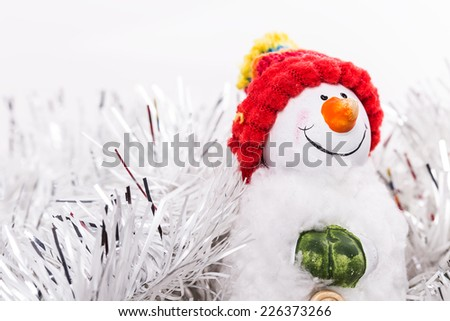 Christmas snowman Isolated on white background - stock photo