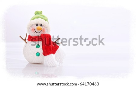 Christmas snowman on white background, space to add text or design, Xmas card - stock photo