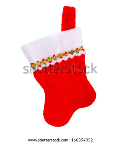 Christmas sock on a white background, isolated - stock photo