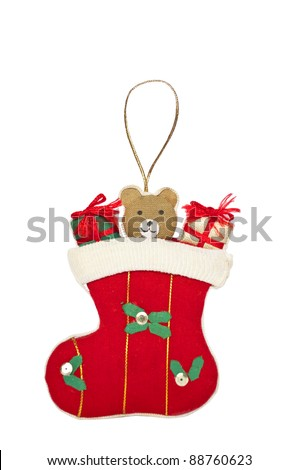 Christmas sock ornament isolated on white background - stock photo
