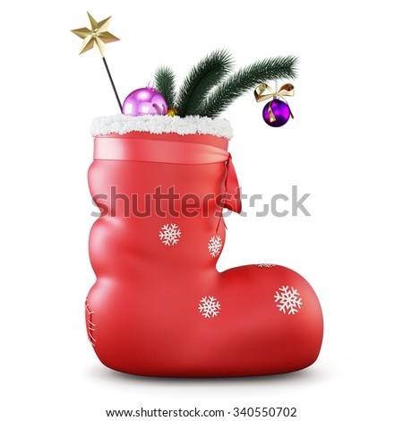 Christmas sock with gifts isolated on white background. 3d rendering. - stock photo