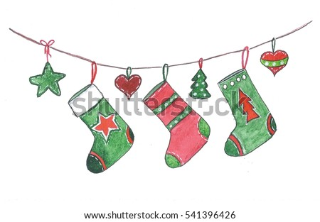 Christmas socks hanging on the rope. Isolated on a white background