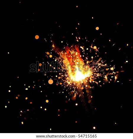christmas sparkler - stock photo
