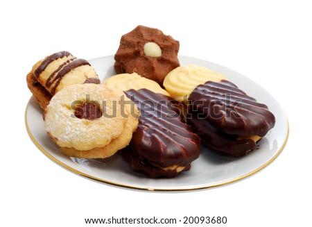 Christmas spice-cakes isolated on white background - stock photo