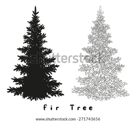 Christmas Spruce Fir Tree Black Silhouette, Contours and Inscriptions Isolated on White Background.  - stock photo