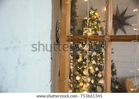 Christmas Spruce Through Door Frame Room Stock Photo 753661345 - Shutterstock & Christmas Spruce Through Door Frame Room Stock Photo 753661345 ...