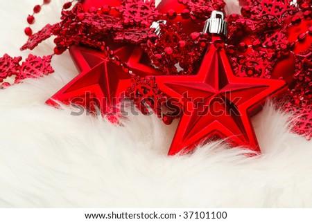 Christmas Star  Decoration on white fur - stock photo