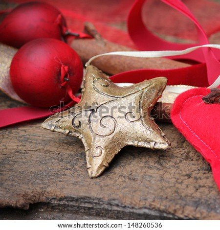 Christmas star gold - stock photo