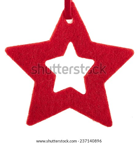 christmas star isolated on white background - stock photo