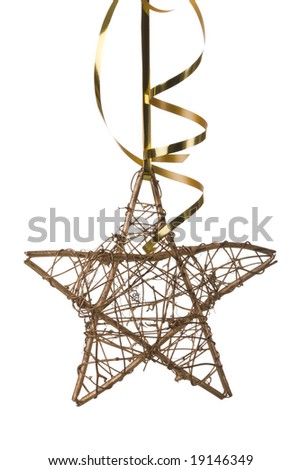 christmas star with golden ribbon (selective focus) - stock photo