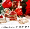 Christmas still life on the snow with gingerbread cookies - stock photo