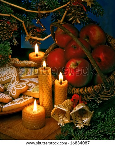 christmas still-life with candles and ginger breads - stock photo