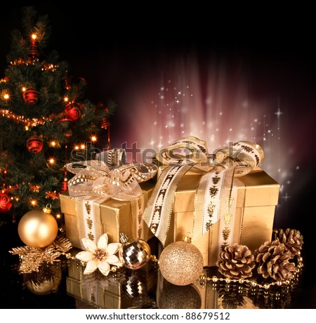 Christmas still life with christmas tree on background - stock photo